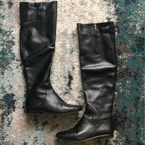 Ava & Aiden Black Leather Over the Knee Boots